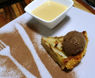 Pear frangipane, dark chocolate ice cream and Amarula custard
