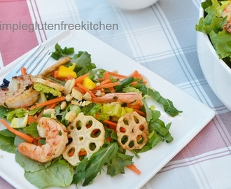 Vietnamese Style Salad with Shrimps and Lotus Root Chips