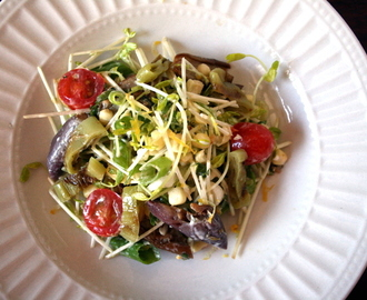 Garden Vegetable Slaw with Pea shoots, Corn, and a Creamy Calamansi Dressing