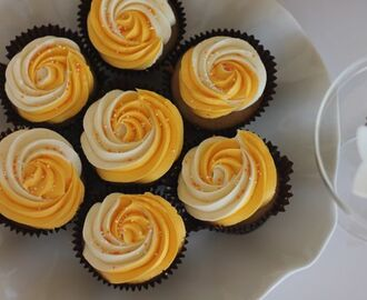 Spicy Orange Cupcakes with White Chocolate Swiss Meringue Buttercream