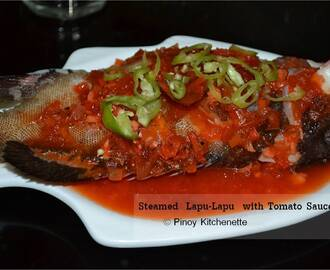 Steamed Lapu-Lapu with Tomato Sauce