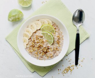Vegan GF Lime and Vanilla Oatmeal with Bee Pollen and Banana