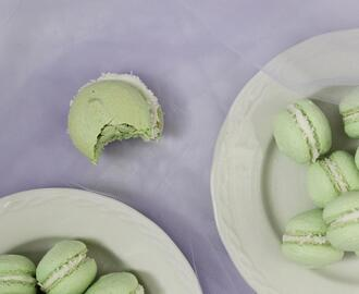 pandan macarons with coconut cream filling recipe — and a mothering afterthought