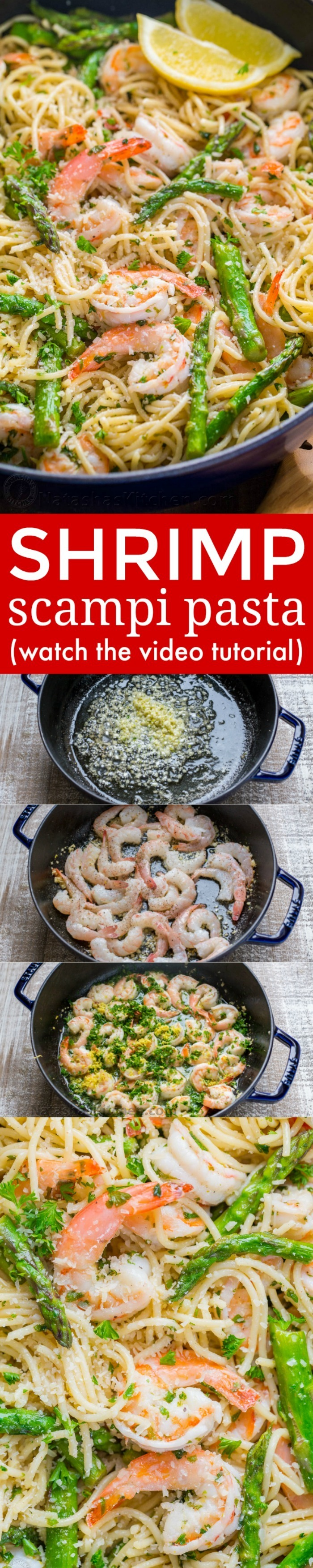 Shrimp Scampi Pasta with Asparagus (VIDEO Recipe)