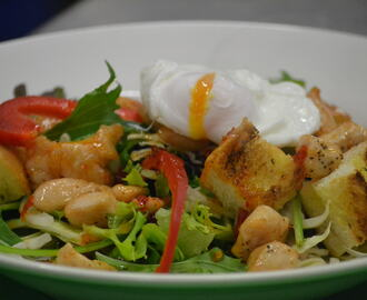 Warm Seafood Salad with poached egg