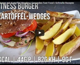 Fitness Burger mit Kartoffel Wedges | Gesundes Fast Food