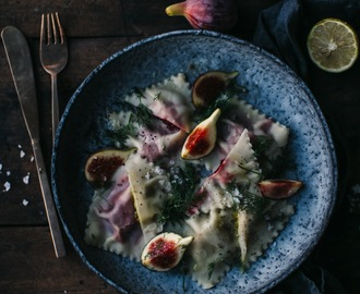 gluten free ravioli filled with red and yellow beetroot and delicious cheese from kaltbach