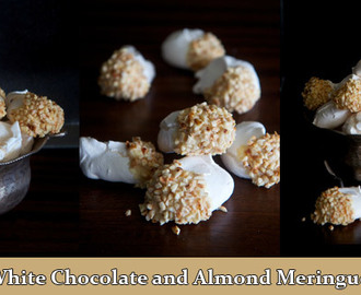 Almond and white chocolate meringues