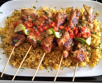 Skillet-grilled Spiced Organic Chicken Skewers