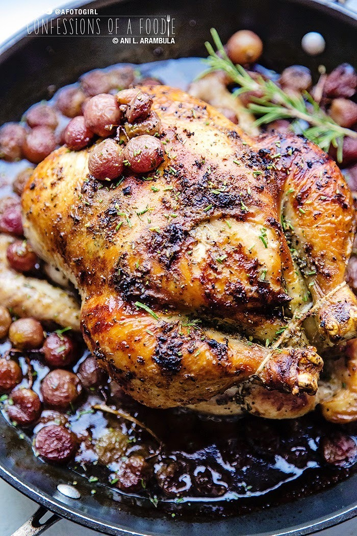 Rosemary Roasted Chicken with Red Muscato Grapes