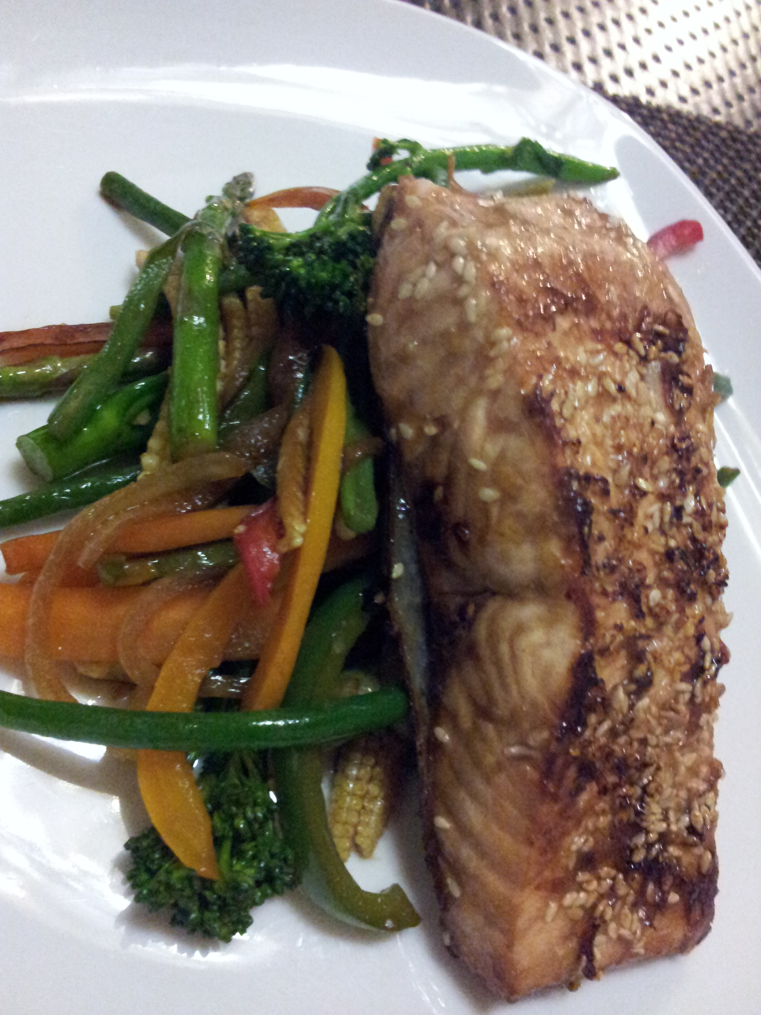 Soy & Honey Sesame crusted salmon with Stir fried Vegetables
