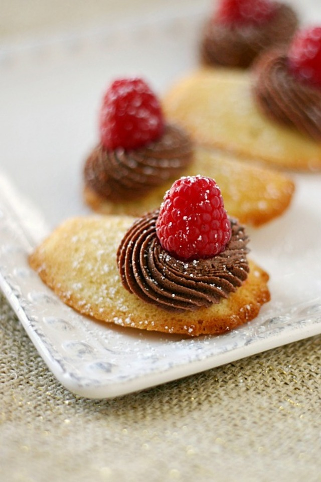 Vanilla Madeleines Filled With Fresh Raspberry Mousse