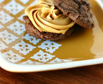 Double Chocolate Chip Cookies with Dulce de Leche Frosting