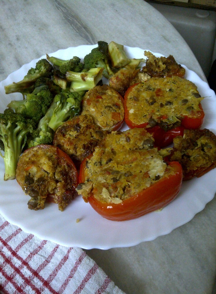 Sprout, Pumpkin & Quinoa Souffléd Stuffed Pepper