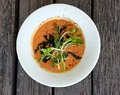 Summer Tomato Cream Soup with Seaweeds and Sesame