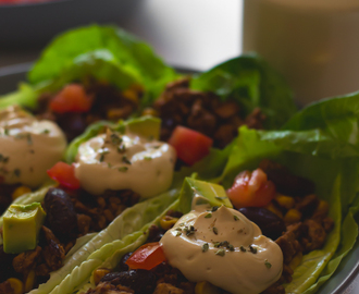 Vegan Taco Lettuce Wraps with Homemade Vegan Sour Cream
