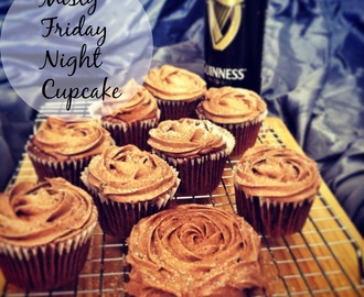 Misty Friday night cupcake: Hot chocolate stout cupcake with marshmallow center and stout chocolate buttercream frosting