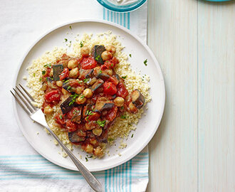 Eggplant and Chickpea Stew with Couscous