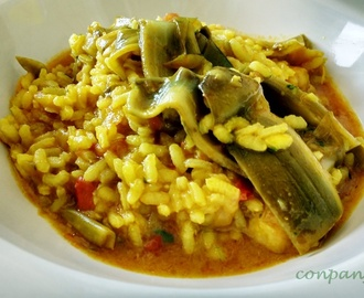 Arroz caldoso con bacalao y alcachofas / Rice with cod and artichokes