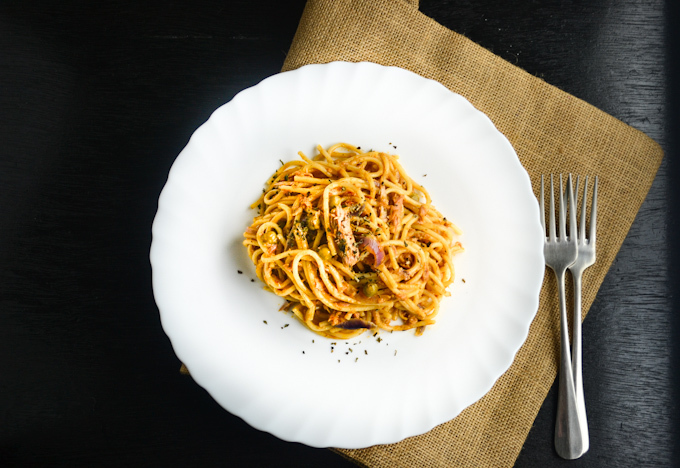 Tuna Pasta with Sun Dried Tomato Pesto