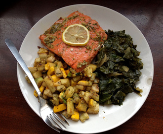 Baked Salmon with Collard Greens and Summer Squash