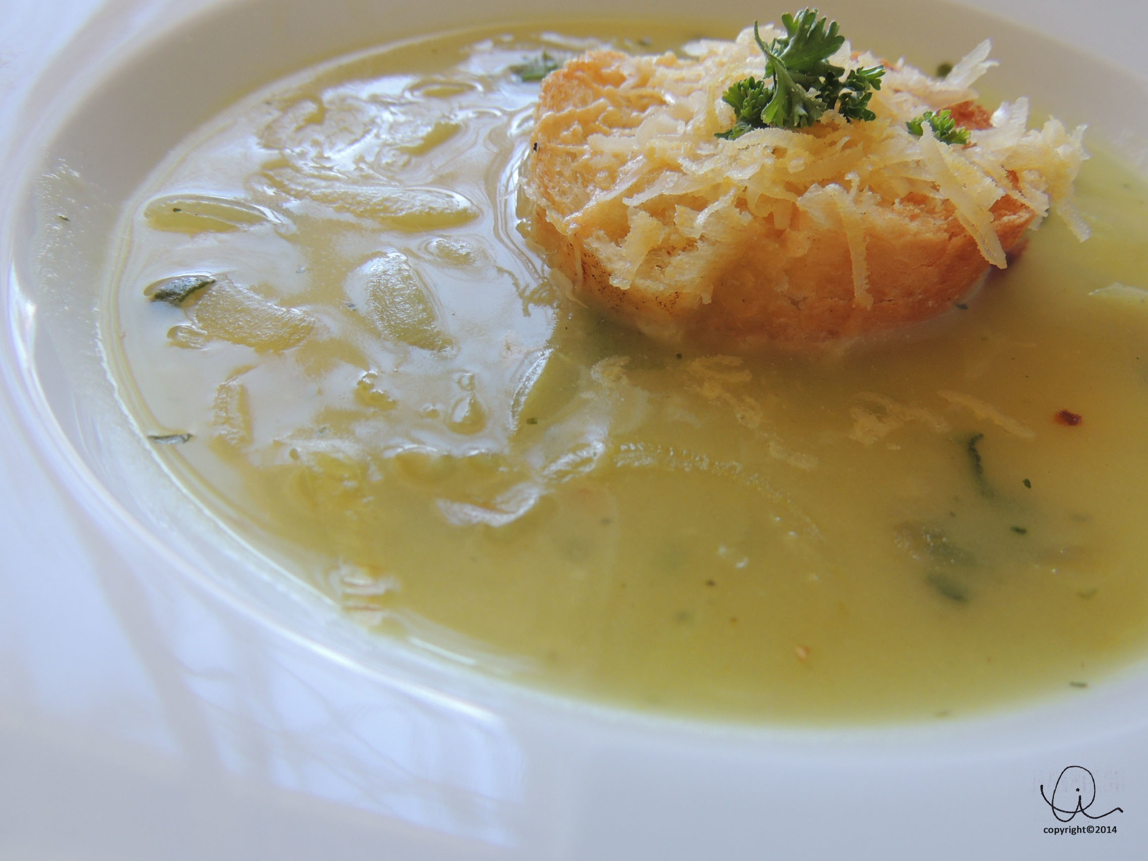 The Soup Series: French Onion and Sage Soup with Gruyere and Mustard Croutons