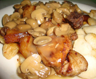 Porkchop and Chicken Balls with Mushroom Sauce