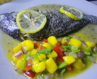 BAKED Seasoned TILAPIA with MANGO SALSA