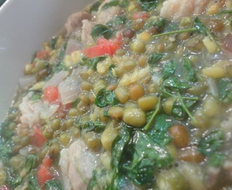 MONGGO GISADO with MALUNGGAY (Green Mung bean Stew)