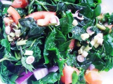 SWEET POTATO YOUNG LEAVES SALAD (Talbos ng Kamote Ensalada)