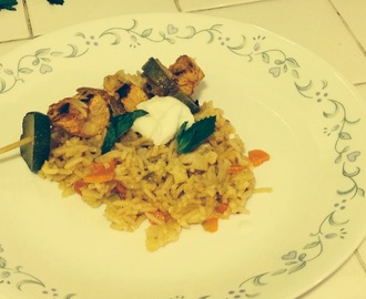 Chicken skewers and spiced rice