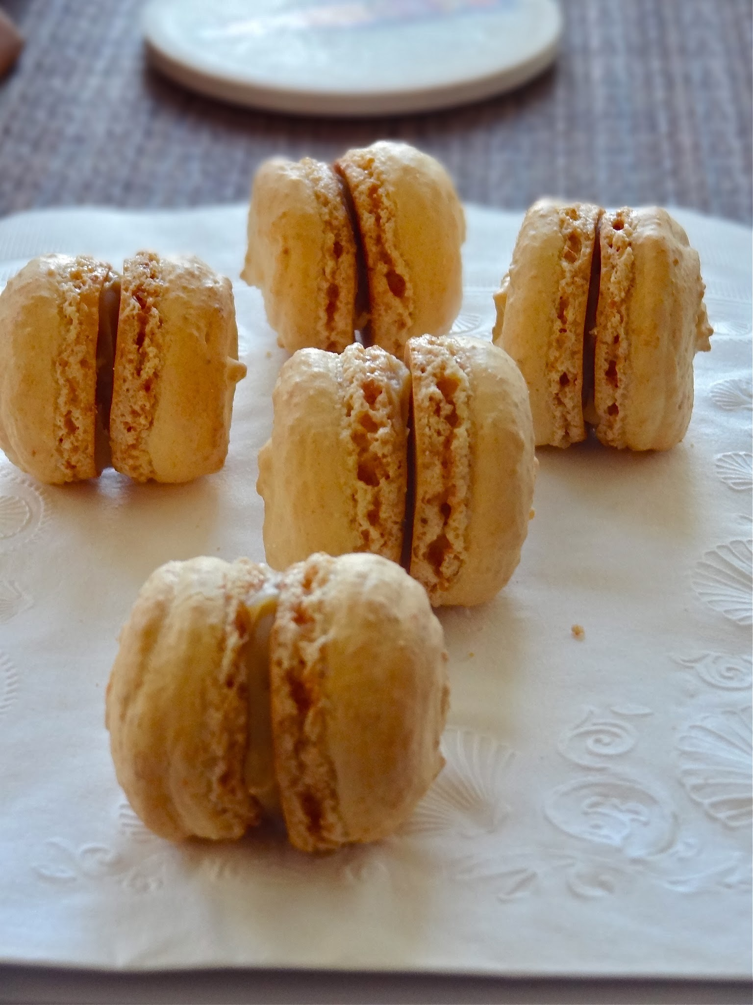 Peanut butter and jam macarons