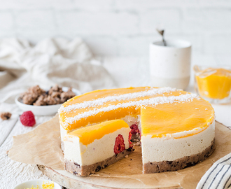Healthy No Bake Mango Raspberry Cheesecake