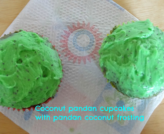 coconut-pandan cupcakes with pandan coconut frosting