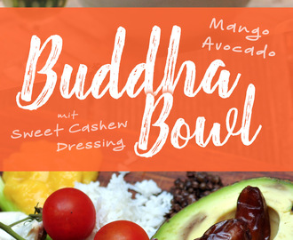 Mango-Avocado Buddha Bowl mit Sweet Cashew Dressing
