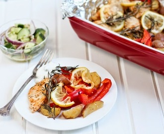 Rosemary Chicken, Lemon Potatoes and Cucumber Salad Recipe