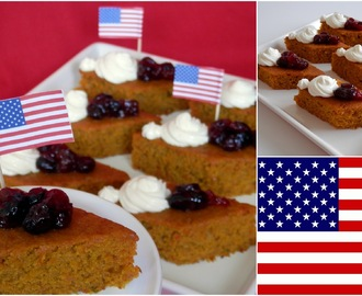 USA - Pumpkin orange cake with drunk cranberries and cream cheese -            Dýňovo-pomerančové kostky s opilými brusinkami a krémovým sýrem