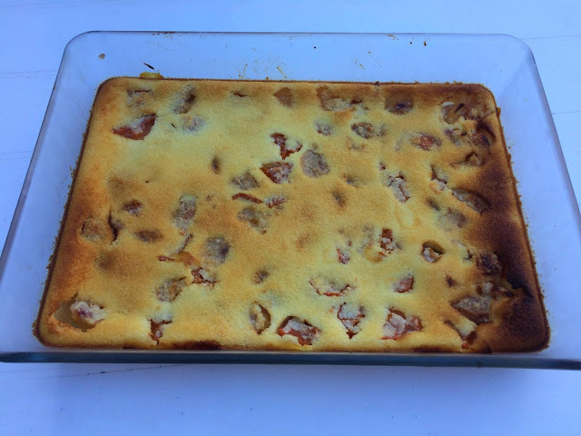 Clafoutis pêches abricots coco