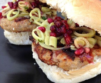 Chicken Burgers with Fennel and Pomegranate {Recipe}