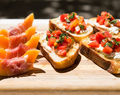 Burrata Bruschetta and Prosciutto Wrapped Melon