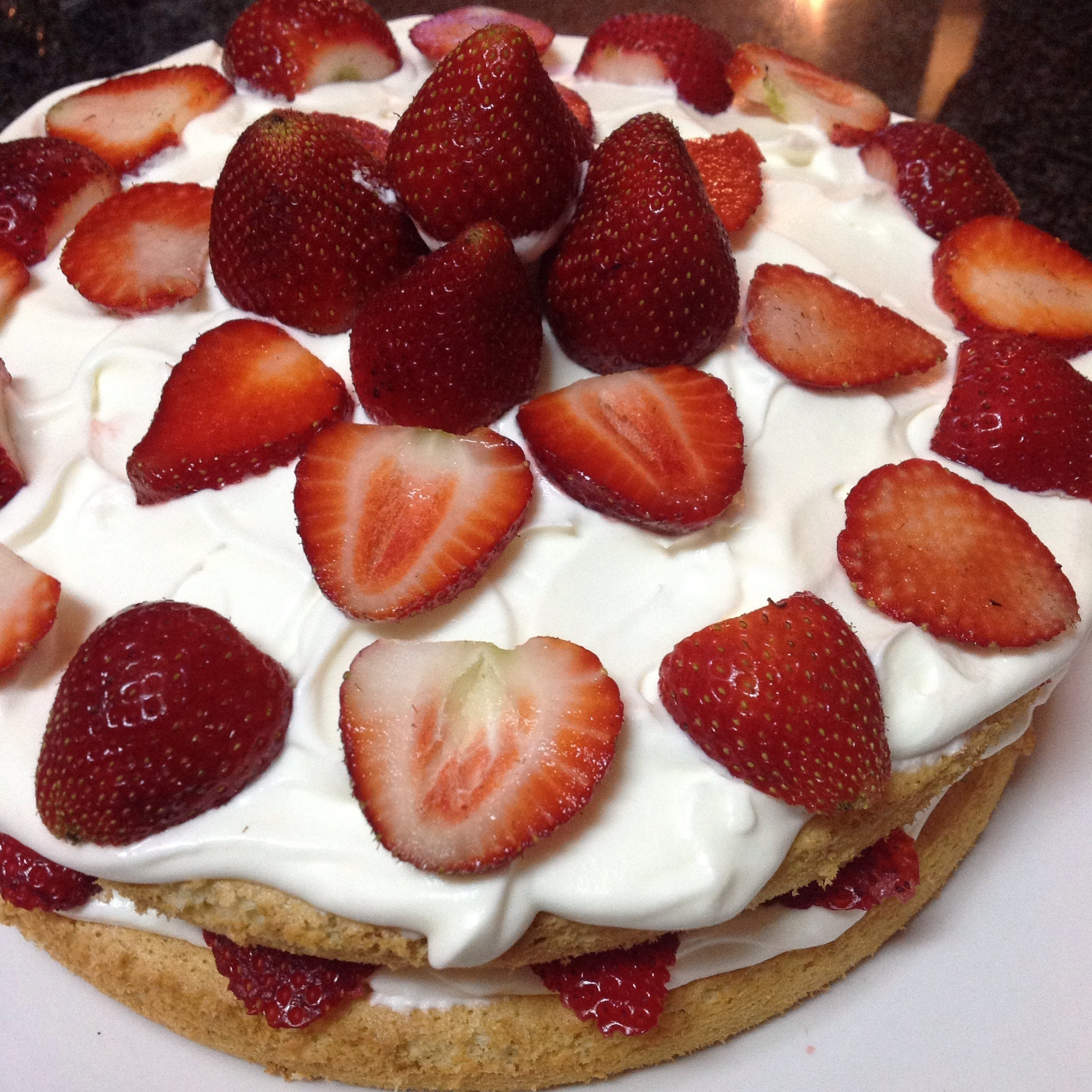 Naked Vanilla Sponge Cake | Strawberry & Cream