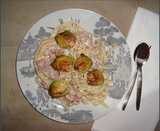 Fettuccine with creamy parmesan sauce and brussels sprouts