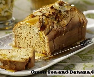 Green Tea and Banana Cake with Sake Syrup