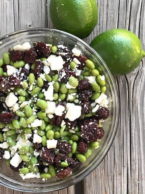 Tangy Edamame with Cranberry, Feta and Capers #CIC