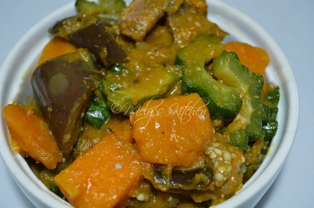 Ginisang Ampalaya, Kalabasa at Talong