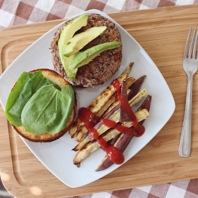 Black Bean and Quinoa Burger with Purple Sweet Potato Fries: vegan, gf, sugar-free, oil-free