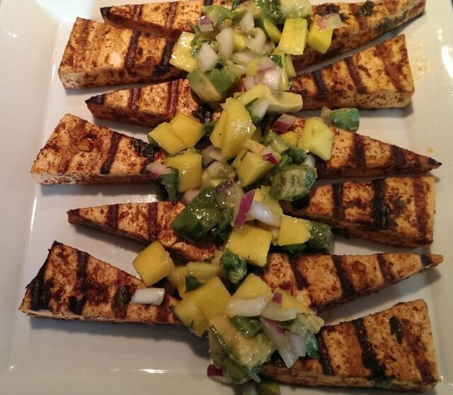 Meatless Monday – Chili Lime Grilled Tofu with Avocado &Mango Salsa