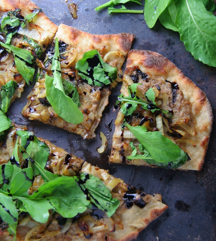 Duck Rillette Pizza with Caramelized Onions, Balsamic Reduction & Fresh Arugula