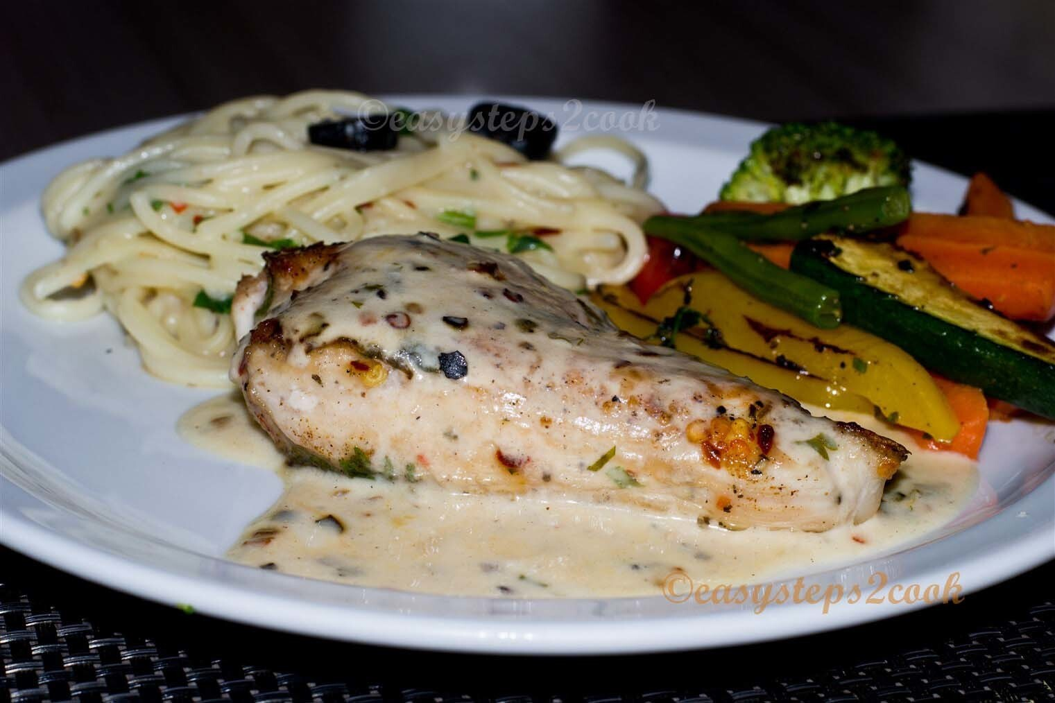 Pan Grilled Chicken With Vegetables And Spaghetti