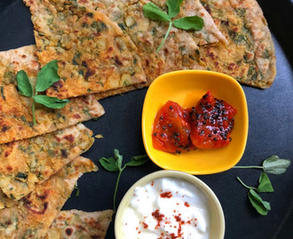 Multigrain Aloo Methi Paratha for #Breadbakers | Vegan multigrain potato and fenugreek Indian flatbread